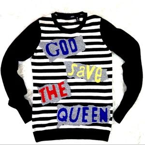 Aqua God Save The Queen Cashmere Sweater Size XS